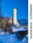 Toompea tower on winter day, in Tallinn, Estonia. - stock photo