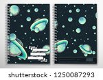 notebook cover template with... | Shutterstock .eps vector #1250087293