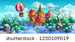 snow forest panorama with... | Shutterstock .eps vector #1250109019