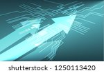 arrow motion on circuit board... | Shutterstock .eps vector #1250113420