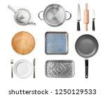 top view  of kitchen utensils...   Shutterstock . vector #1250129533