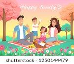 happy family summer picnic in... | Shutterstock .eps vector #1250144479
