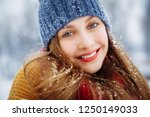 winter young woman portrait.... | Shutterstock . vector #1250149033