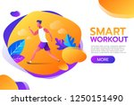 smart workout. young man... | Shutterstock .eps vector #1250151490