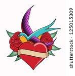 heart tattoo emblem | Shutterstock .eps vector #125015309