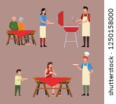 family barbecue picnic | Shutterstock .eps vector #1250158000