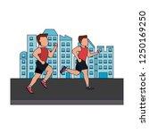 fitness men in the city blue... | Shutterstock .eps vector #1250169250