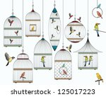 birds and birdcages collection | Shutterstock .eps vector #125017223