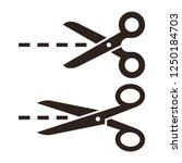 Vector Scissors With Cut Lines...