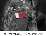flag of qatar on soldiers arm ... | Shutterstock . vector #1250190349
