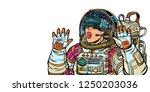 surprised woman astronaut in... | Shutterstock .eps vector #1250203036