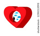 heart with hole. silhouette of... | Shutterstock .eps vector #1250213593