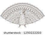 peacock bird zentangle adult...   Shutterstock .eps vector #1250222203