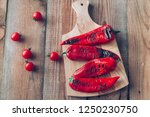 grilled red peppers on the... | Shutterstock . vector #1250230750