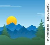 peaceful blue mountain... | Shutterstock .eps vector #1250236060