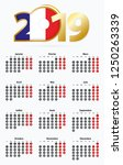 vector template calendar 2019... | Shutterstock .eps vector #1250263339
