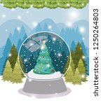 christmas pine tree in sphere... | Shutterstock .eps vector #1250264803