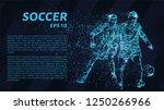 soccer. a grid of blue stars in ... | Shutterstock .eps vector #1250266966