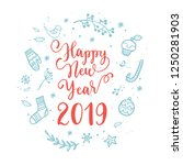 happy new year wishes for label ... | Shutterstock .eps vector #1250281903