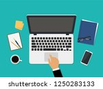 workplace with laptop top view. ... | Shutterstock .eps vector #1250283133