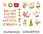 christmas set of funny cartoon... | Shutterstock .eps vector #1250289550