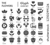 flowers glyph signed icon set ... | Shutterstock .eps vector #1250299126