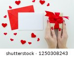 blank white greeting card with... | Shutterstock . vector #1250308243
