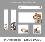 Stock photo set of various size web banners with cats and dogs for pet business advertising 1250319310