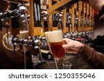hand of bartender pouring a red ... | Shutterstock . vector #1250355046