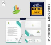 business chart with leaf logo... | Shutterstock .eps vector #1250364859