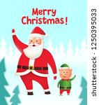 realistic santa claus and elf... | Shutterstock .eps vector #1250395033