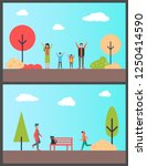 family in autumnal park  boy... | Shutterstock .eps vector #1250414590