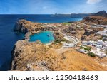 view of st. paul s bay  lindos... | Shutterstock . vector #1250418463