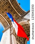 arc of triumph with the french... | Shutterstock . vector #125043350