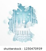 winter in germany with map... | Shutterstock .eps vector #1250470939