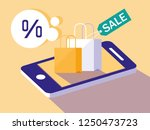 shopping online with smartphone ... | Shutterstock .eps vector #1250473723