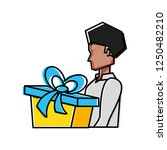 young man with gift box present   Shutterstock .eps vector #1250482210