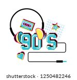 headphone with cassette tape of ... | Shutterstock .eps vector #1250482246