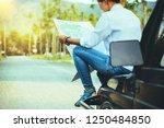 woman travel relaxing nature... | Shutterstock . vector #1250484850