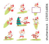 santa claus  on surfboard with... | Shutterstock .eps vector #1250516806