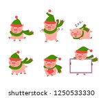 vector pig set isolated on a... | Shutterstock .eps vector #1250533330