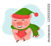 pig hold the red heart in green ...   Shutterstock .eps vector #1250533333