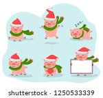 vector pig set isolated on a...   Shutterstock .eps vector #1250533339
