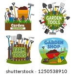 gardening tools and equipment... | Shutterstock .eps vector #1250538910