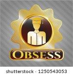 golden emblem or badge with... | Shutterstock .eps vector #1250543053