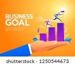 flat business people climbing... | Shutterstock .eps vector #1250544673