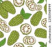 noni. fruit  leaves. sketch.... | Shutterstock .eps vector #1250548999