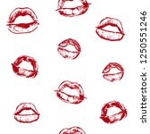 vector objects set. lips prints.... | Shutterstock .eps vector #1250551246