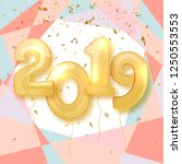 2019 happy new year. realistic... | Shutterstock .eps vector #1250553553