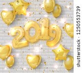 2019 happy new year. realistic... | Shutterstock .eps vector #1250553739
